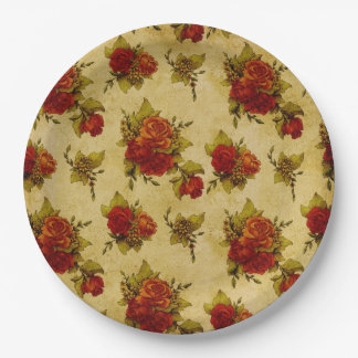 RED ROSE PRINT PAPER PLATE