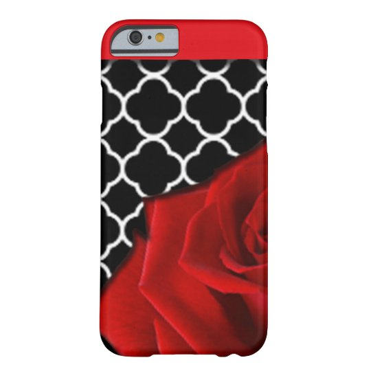 Red Rose & Quatrefoil Pattern Barely There iPhone 6 Case