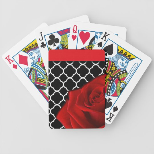 Red Rose & Quatrefoil Pattern Bicycle Playing Cards