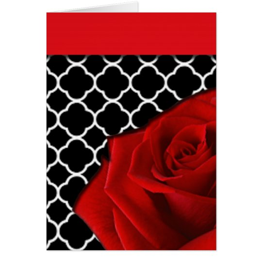 Red Rose & Quatrefoil Pattern Card