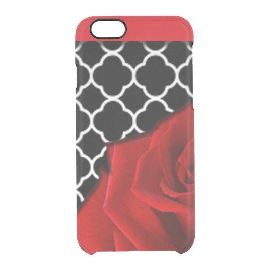 Red Rose & Quatrefoil Pattern Clear iPhone 6/6S Case
