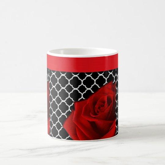 Red Rose & Quatrefoil Pattern Coffee Mug