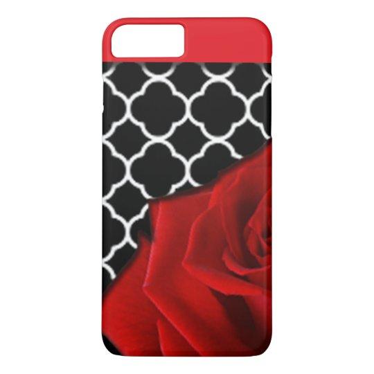 Red Rose & Quatrefoil Pattern iPhone 8 Plus/7 Plus Case
