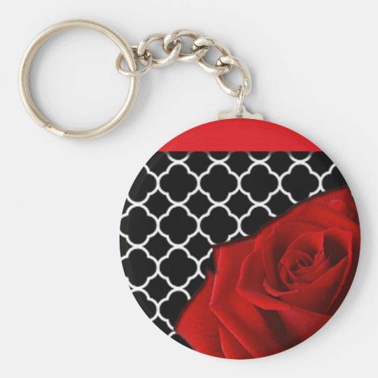 Red Rose & Quatrefoil Pattern Keychain