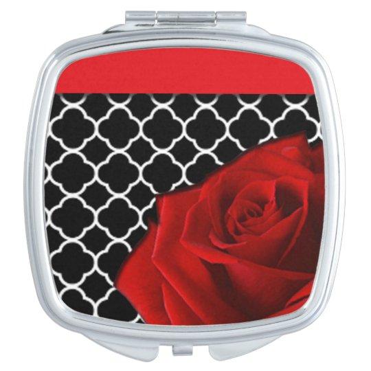 Red Rose & Quatrefoil Pattern Makeup Mirror
