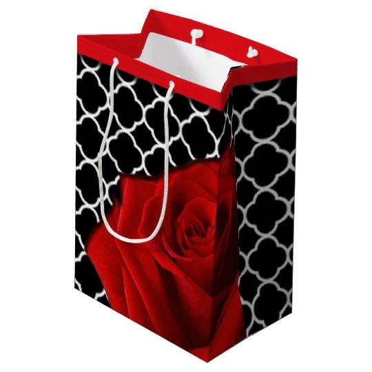 Red Rose & Quatrefoil Pattern Medium Gift Bag