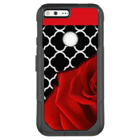 Red Rose & Quatrefoil Pattern OtterBox Commuter Google Pixel XL Case