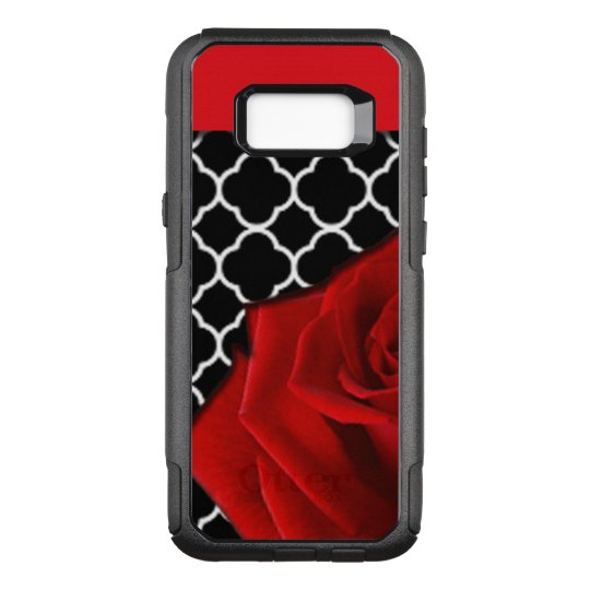 Red Rose & Quatrefoil Pattern OtterBox Commuter Samsung Galaxy S8+ Case