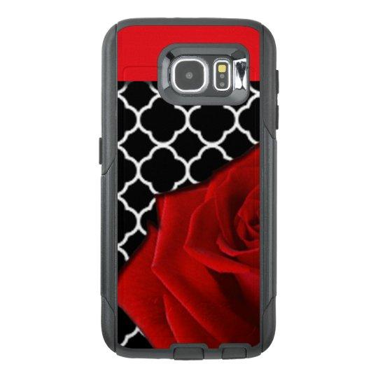 Red Rose & Quatrefoil Pattern OtterBox Samsung Galaxy S6 Case