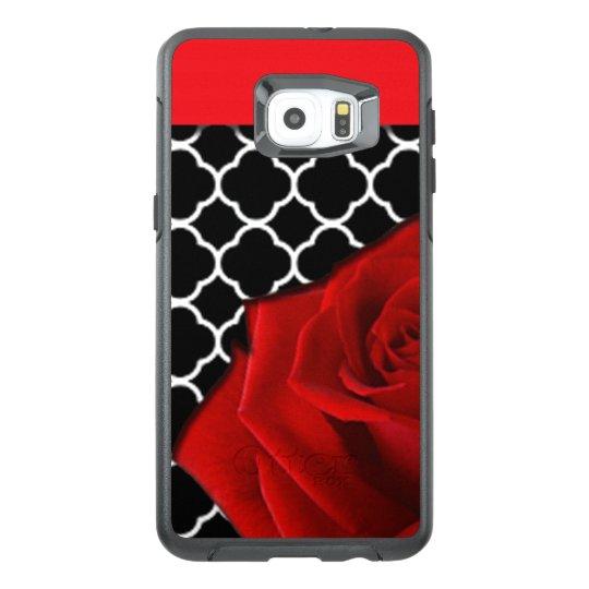Red Rose & Quatrefoil Pattern OtterBox Samsung Galaxy S6 Edge Plus Case