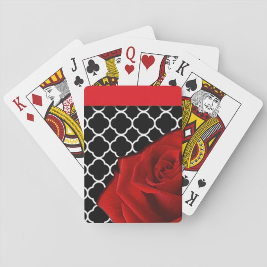 Red Rose & Quatrefoil Pattern Playing Cards