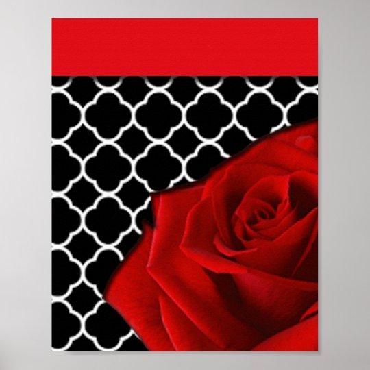 Red Rose & Quatrefoil Pattern Poster