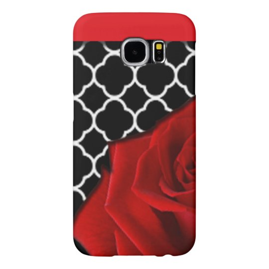 Red Rose & Quatrefoil Pattern Samsung Galaxy S6 Cases