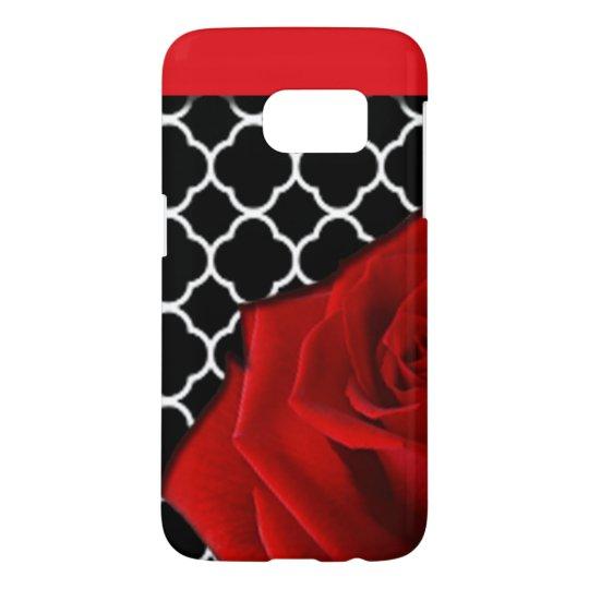 Red Rose & Quatrefoil Pattern Samsung Galaxy S7 Case
