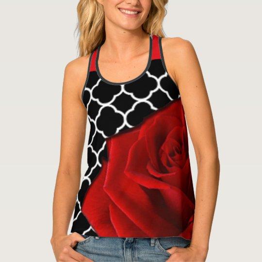 Red Rose & Quatrefoil Pattern Tank Top