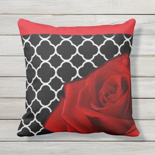 Red Rose & Quatrefoil Pattern Throw Pillow