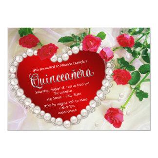 "Red Rose Quinceañera 4.5"" X 6.25"" Invitation Card"
