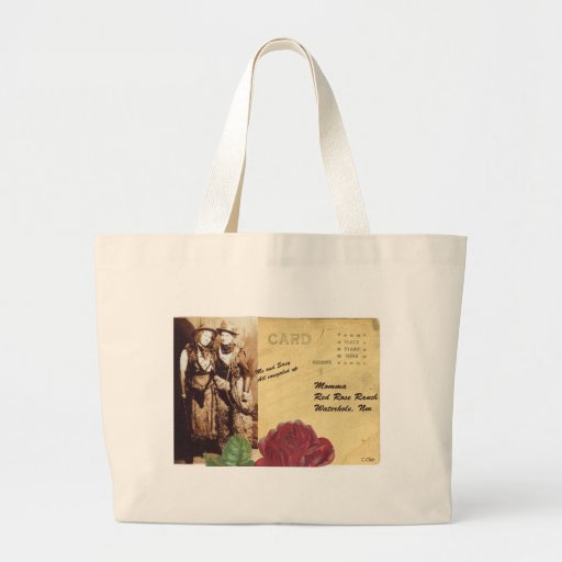 Red Rose Ranch Two Cowgirls Vintage Photo Collage Tote Bag