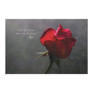 "Red Rose, Rumi quote, ~ 60"" x 40"" - EXTRA LARGE Canvas Print"