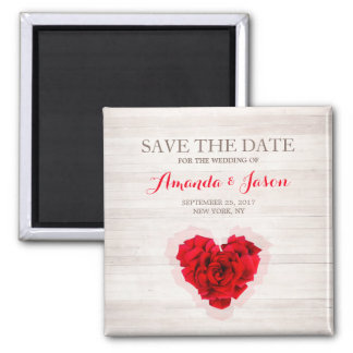 Red rose save the date square magnet hhn01