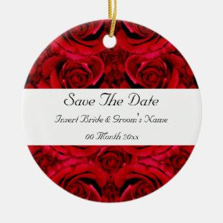 red rose save the date wedding invitations elegant round ceramic ornament