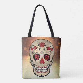 Red Rose Skull Bag - Tote Day of the Dead