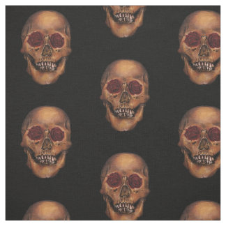 Red Rose Skull Illustration Fabric