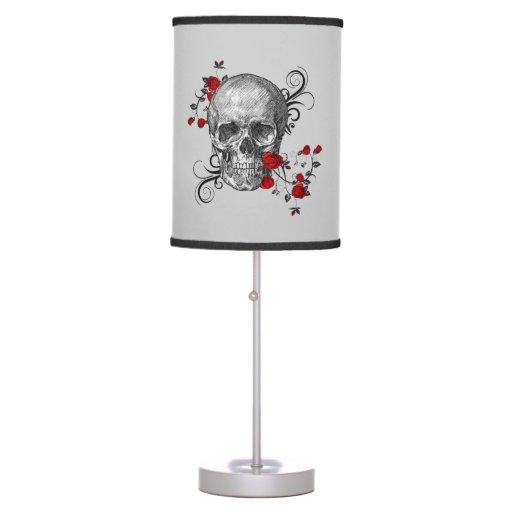 Red Rose Skull Lamp