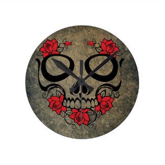 Red Rose Skull Round Clock