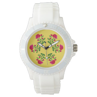 Red Rose Sporty White Watch