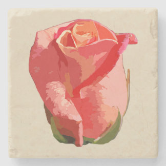 Red Rose Square Stone Coaster