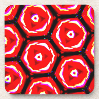 Red rose style honeycomb pattern coaster