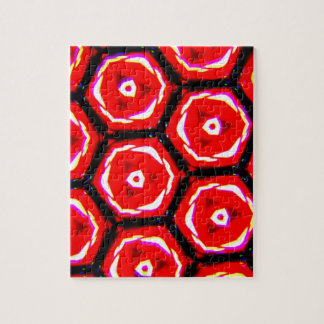 Red rose style honeycomb pattern jigsaw puzzle