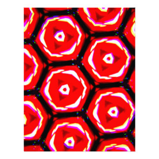 Red rose style honeycomb pattern letterhead