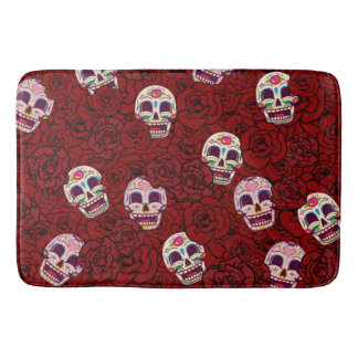 Red Rose Sugar Funny Skull Bathroom Mat