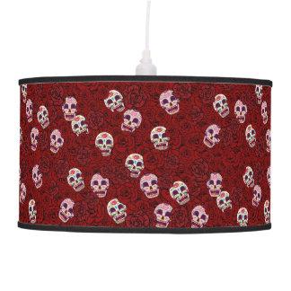 Red Rose Sugar Funny Skull Pendant Lamp