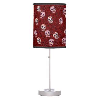 Red Rose Sugar Funny Skull Table Lamp
