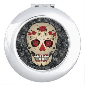 Red Rose Sugar Skull Compact Mirror Accessory