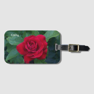 Red Rose Up Close Luggage Tag