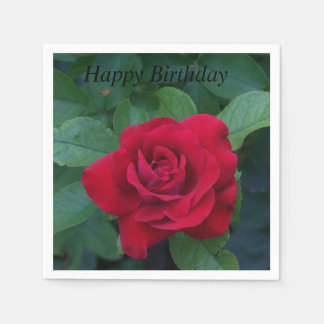 Red Rose Up Close Paper Napkin