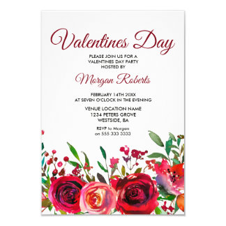 Red Rose Valentines Day Party Invitation