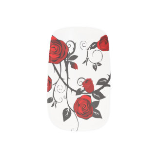 Red Rose & Vine Designs Minx Nail Sticker Art