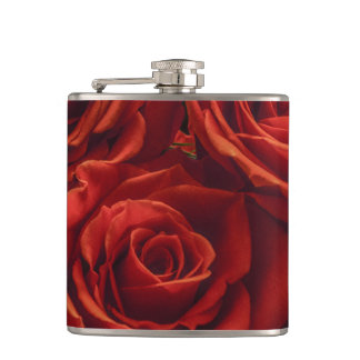 Red rose vinyl flask