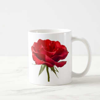 Red Rose w/ Dew Drop on White Coffee Mug