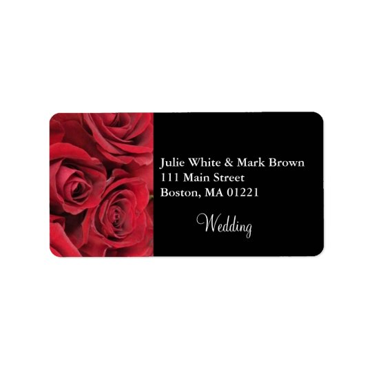 Red Rose Wedding Address Label