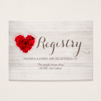 Red rose wedding gift registry card hhn01