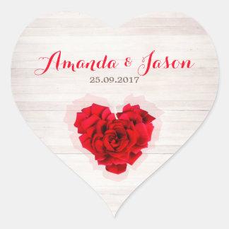Red rose wedding heart shape sticker hhn01