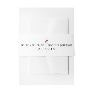 Red Rose Wedding Invitation Belly Bands Invitation Belly Band