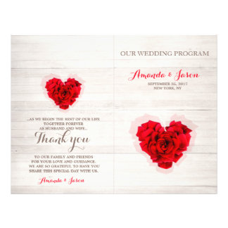 Red rose wedding program card hhn01 full color flyer
