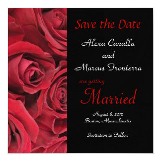 "Red Rose Wedding Save the Date Announcement Card 5.25"" Square Invitation Card"